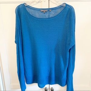 Vince | Blue Linen Long Sleeve Top